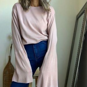 Vintage Bell Sleeve Blush Knit Pullover